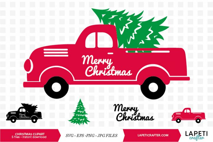 Red Christmas truck with tree svg, eps, jpg, png images