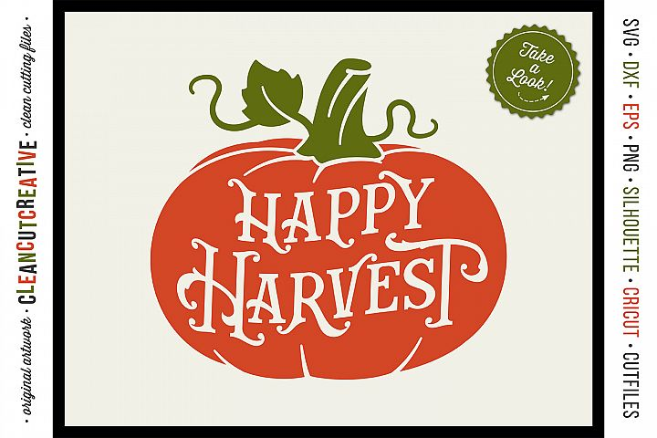 HAPPY HARVEST - Vintage Rustic Pumpkin in SVG DXF EPS PNG