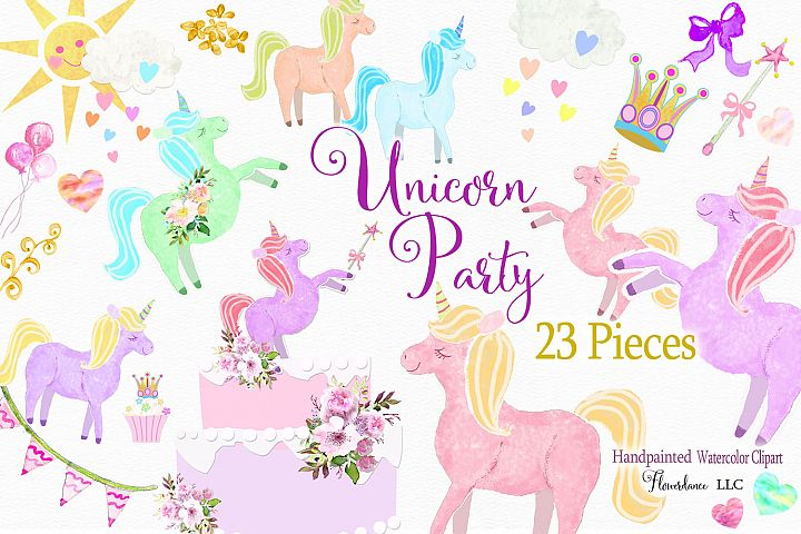 Unicorn Clipart in Rainbow Colors, Princess, PNG, Watercolor