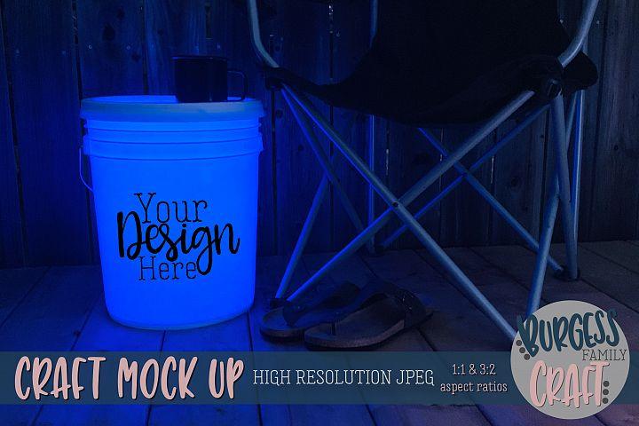 Bucket light table blue Craft mock up| High Resolution JPEG