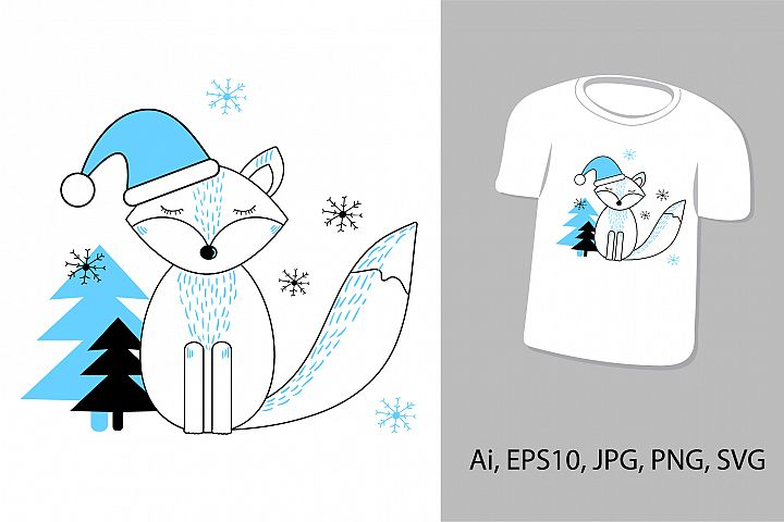 Cute fox. New Year and Christmas, winter animal.