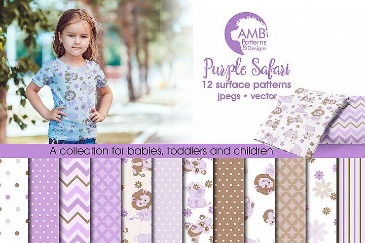Purple Safari patterns, Purple Safari papers AMB-1210