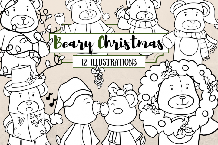 Bear Christmas Digital Stamps