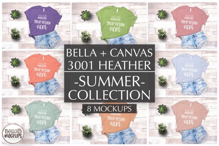 Bella Canvas T Shirt Mockup Bundle, Heather 3001, Summer