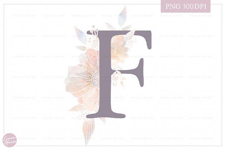 MONOGRAM Letter F Floral Wedding Monogram - Flower alphabet