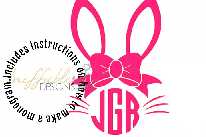 Girls Bunny Monogram Easter Monogram
