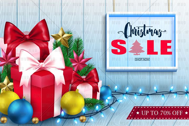 3D Christmas Sale Inside a Frame in Wooden Background
