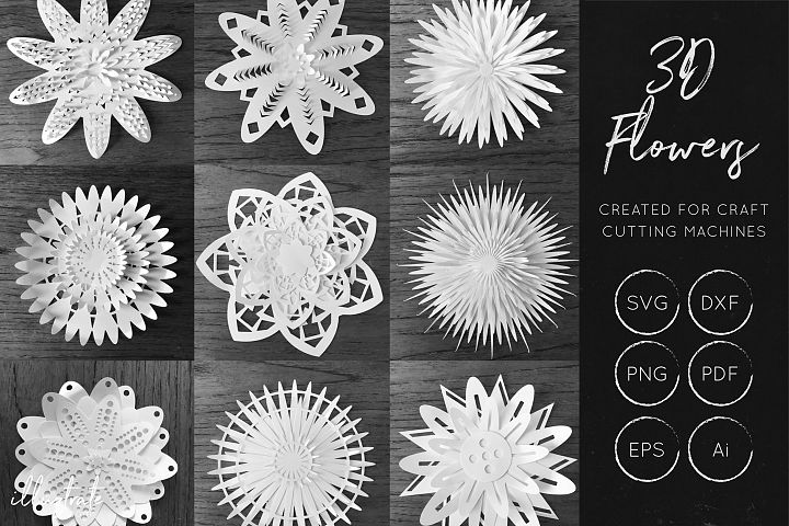 3D Flower SVG Cut Files - Flower SVG - Layered Flower DXF