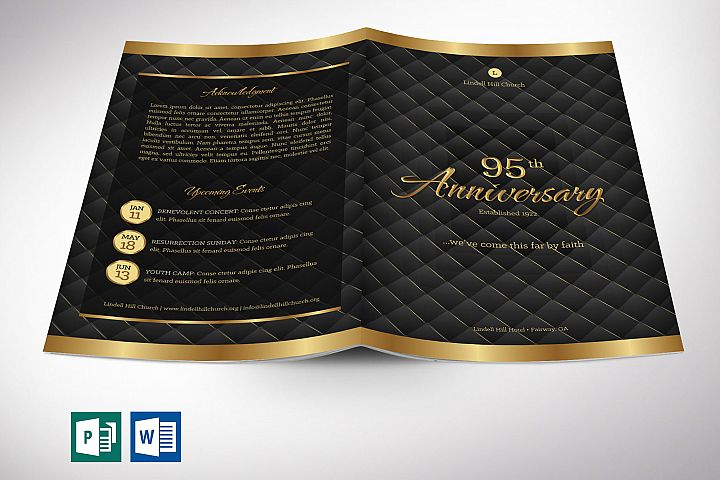 Gold Black Anniversary Program Word Publisher Template
