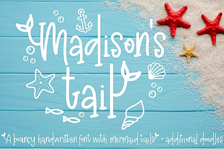 Madisons tail - A mermaid font plus nautical doodles