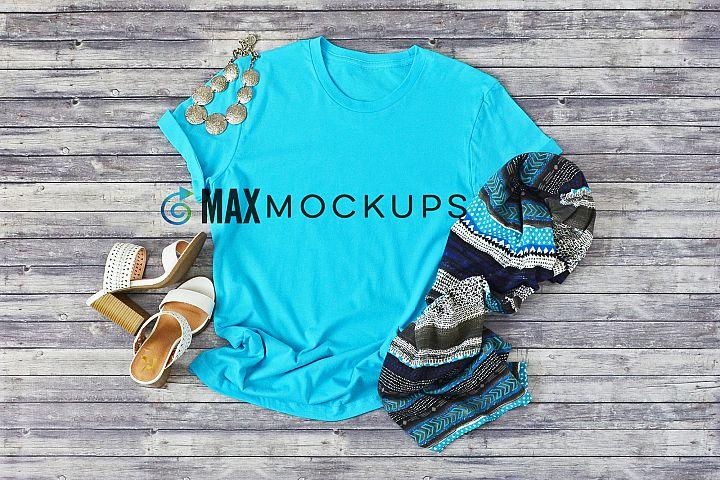 Turquoise t-shirt Mockup, styled stock photo, shirt flatlay