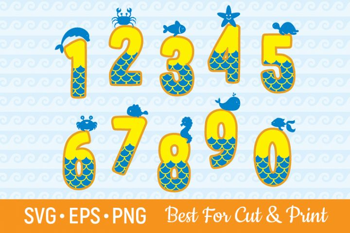 Mermaid Numbers SVG Mermaid SVG Birthday girl SVG Party SVG