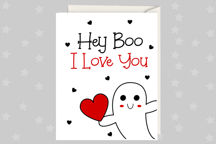 Anniversary Card, Hey Boo, Greeting Card Printable