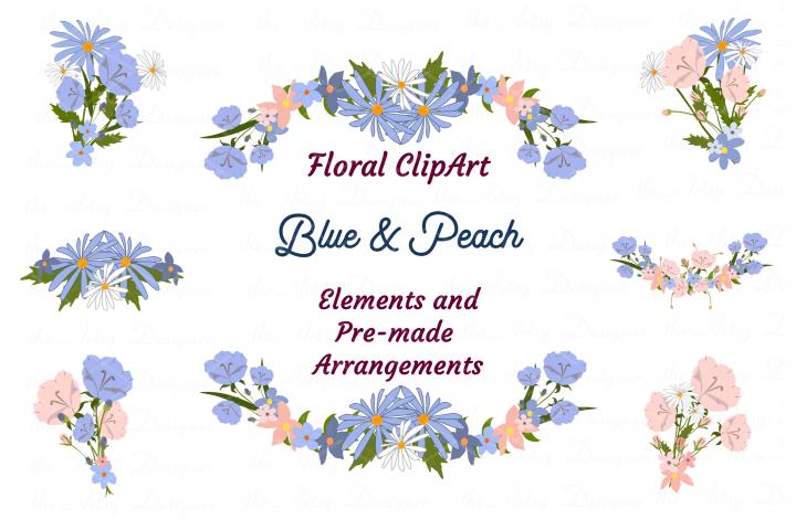 Blue Peach Daisy Flowers Sublimation Transfer Clipart Bundle