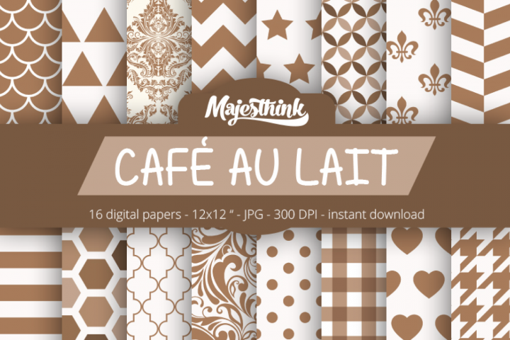 Cafe Au Lait Brown Digital Paper - with polkadot, stripe, chevron, quatrefoil, floral, damask, hexagon, triangle red pattern for Scrapbooking