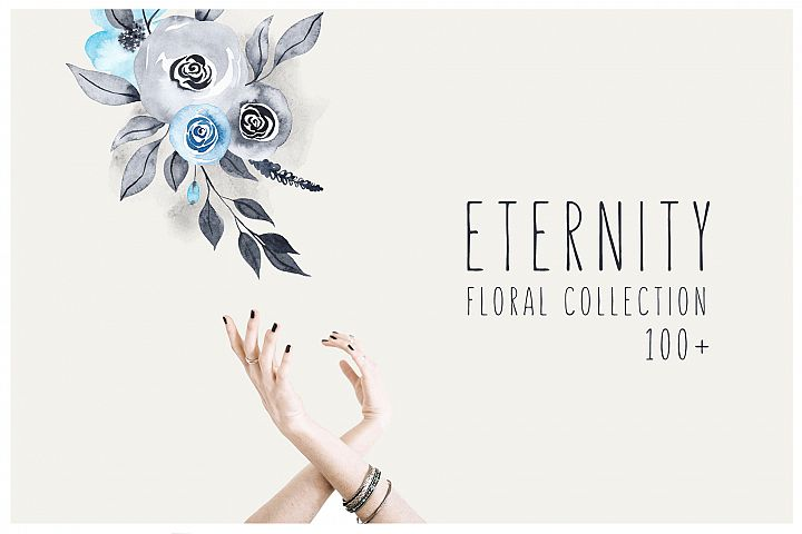 ETERNITY: navy & blue watercolor floral collection