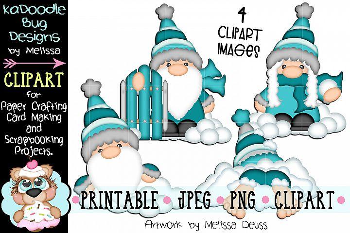 Winter Gnomes Clipart Bundle - 4 JPEG PNG Print Then Cut