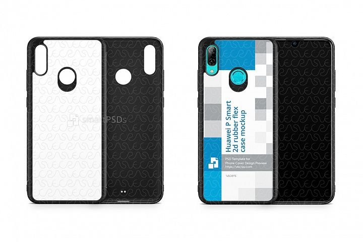 Huawei P Smart 2d RubberFlex Case Design Mockup 2019