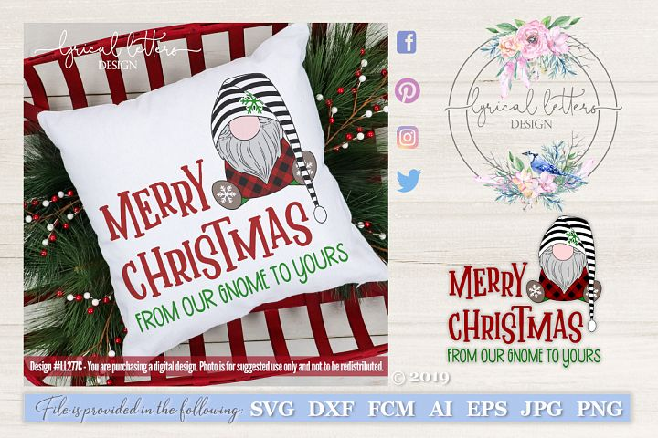 NEW! Merry Christmas from Our Gnome SVG Cut File LL277C
