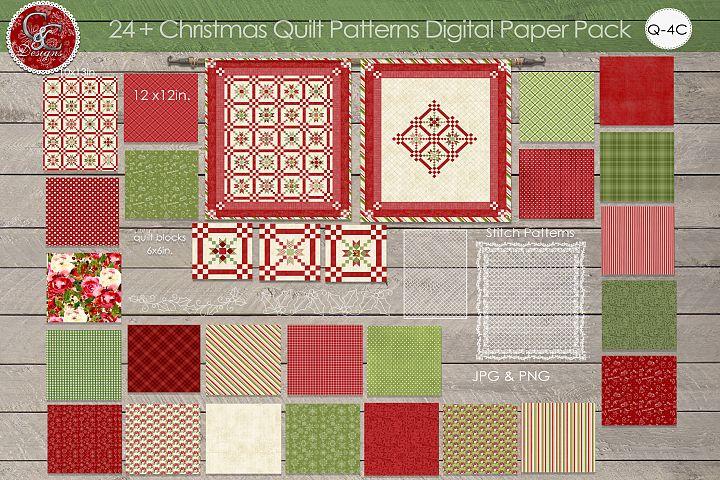 24 Plus Christmas Quilt Patterns Digital Paper Pack