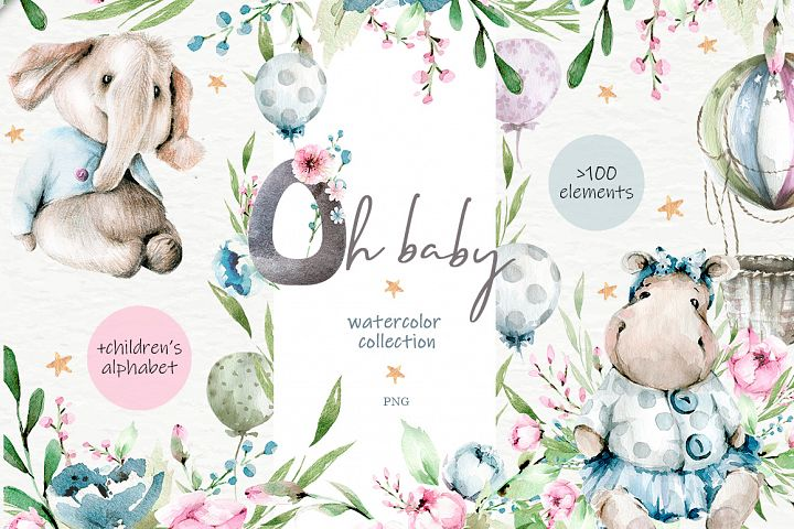 Oh baby. Watercolor collection