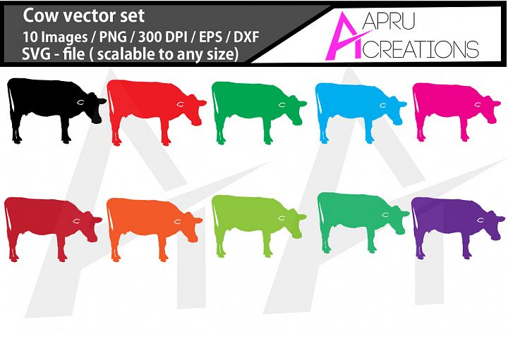 cow silhouette, color cow silhouette, / commercial use / cow animal silhouette, cow clipart, cow svg, eps, dxf, png image, cow vectors icon