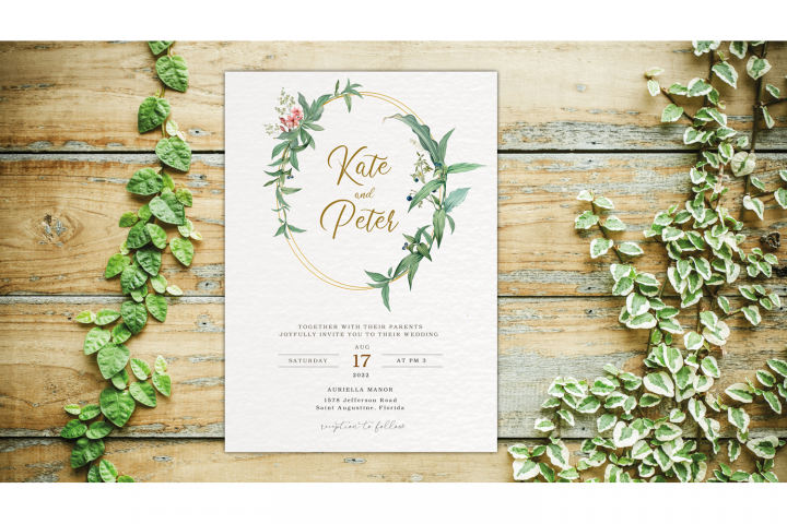 Greenery Wedding Invitation Template Set, Botanical