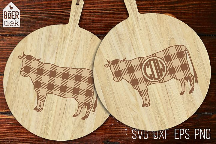 Buffalo plaid cow | Farm SVG cutting file | 2 designs