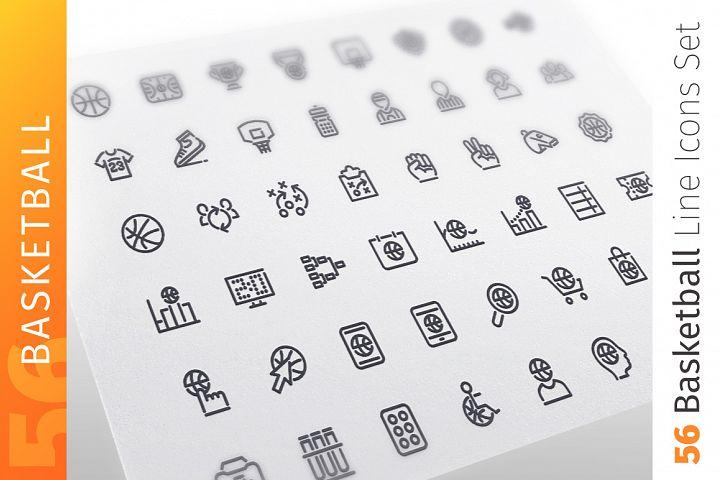 Basketball Line Icons Set