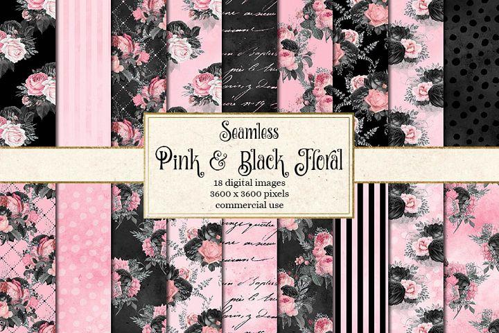 Pink and Black Floral Digital Paper