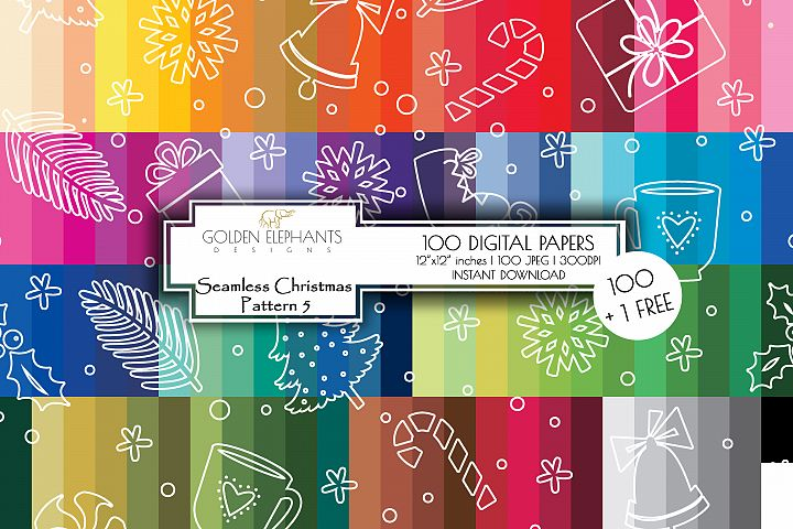 100 Seamless Christmas 5 Background Digital Paper