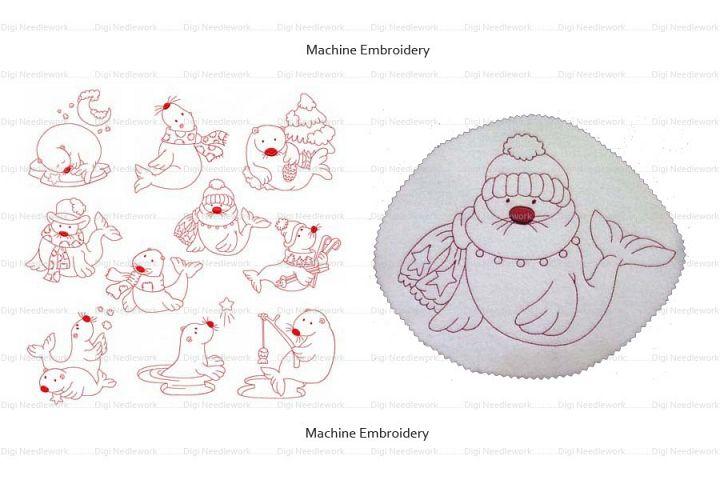 Winter Time Seal 4x4 5x5 6x6 7x7 8x8 hoop Machine Embroidery