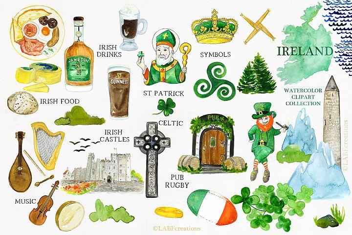 Ireland. Watercolor map. Wanderlust.