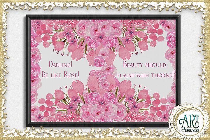 Watercolor Floral pink wreath - 2 arrangements example 4