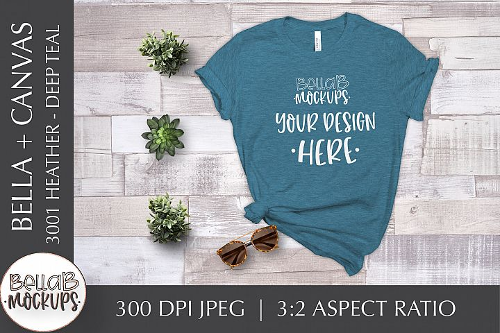 Bella Canvas 3001 Heather Womans T Shirt Mockup, Deep Teal