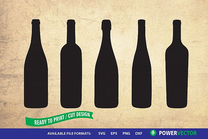 Wine Bottles - Svg Cut Files for Cricut, Silhouette