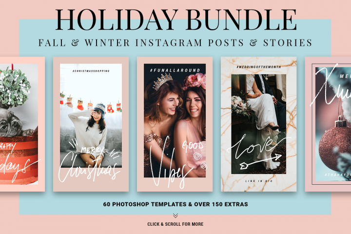 Holiday Christmas, Thanksgiving ANIMATED Instagram Templates
