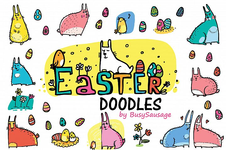 Easter Doodles - rabbits, eggs, flowers