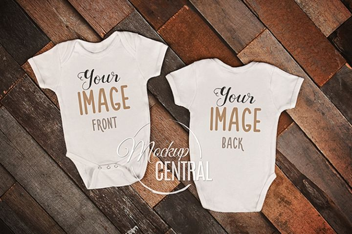 Front & Back Side Baby Onepiece Bodysuit Mockup Shirt JPG