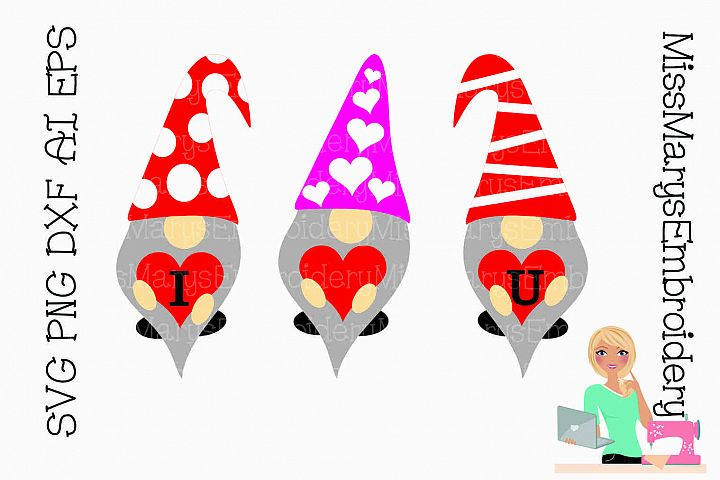 I Love U Garden Gnomes SVG Cutting File PNG DXF AI EPS