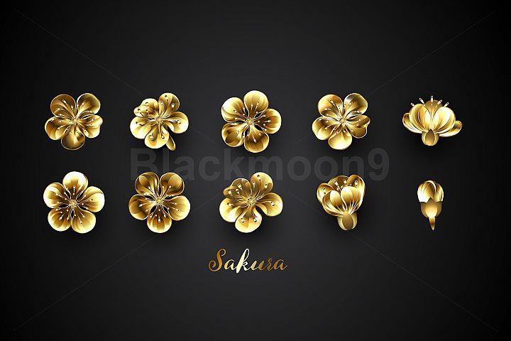 Set of Golden Sakura Flowers