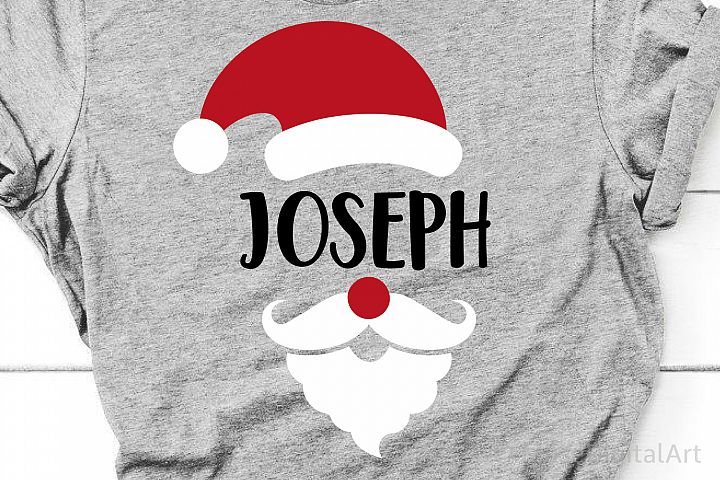 Santa Monogram Svg, Christmas Svg, Santa Hat Santa Beard Svg