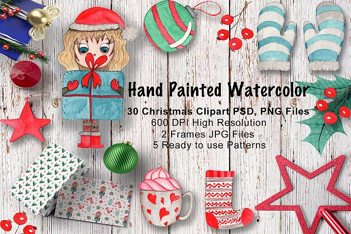 Hand Painted Watercolor Christmas Clipart Set