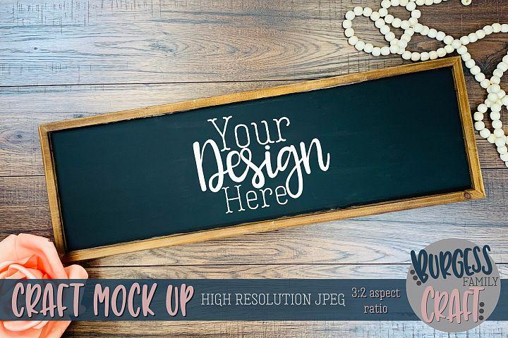 Horizontal framed sign Craft mock up |High Res JPEG