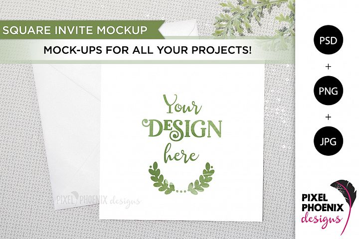 Square Card Mockup with leaves