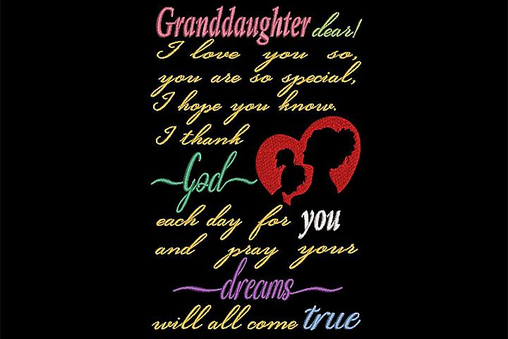To Granddaughter embroidery