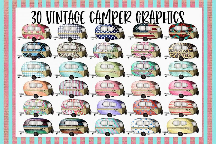30 Vintage Camper Sublimation Graphics Bundle