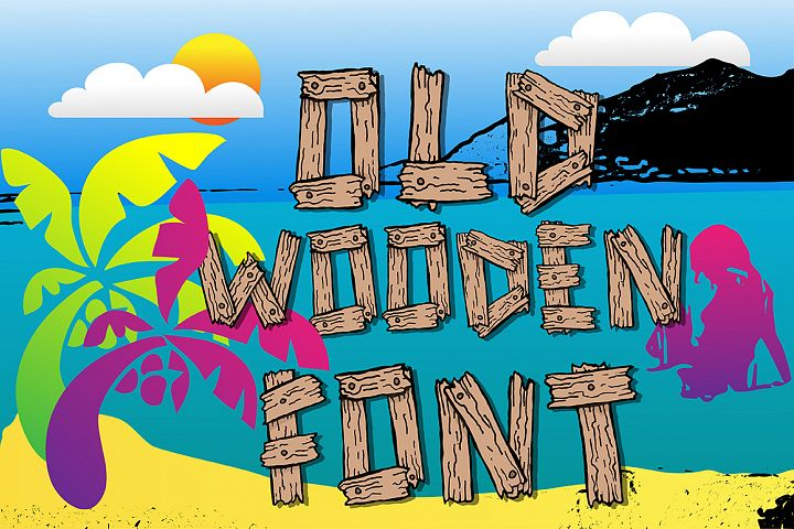 Summer old wooden font