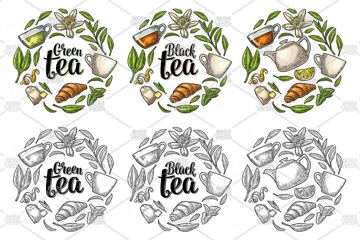 Set engraving illustration with lettering Black Green Tea.