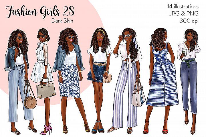 Fashion illustration clipart - Fashion Girls 28 - Dark Skin